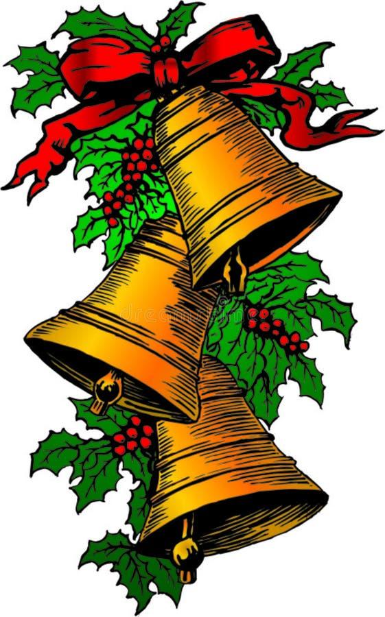Cloches et houx de Noël photo stock