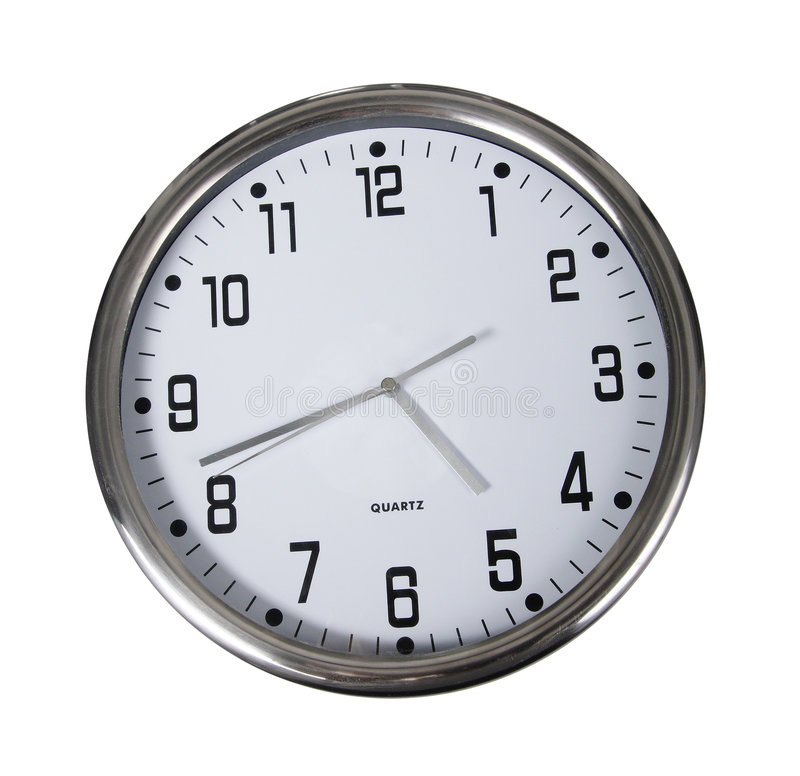 Clock. Wall clock on white background royalty free stock photos