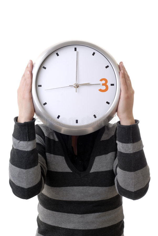 Clock. Woman with a clock covering her head stock photo