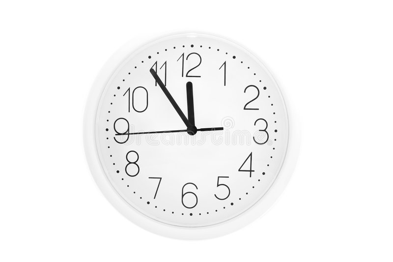 Clock. White clock isolated on bright background royalty free stock images