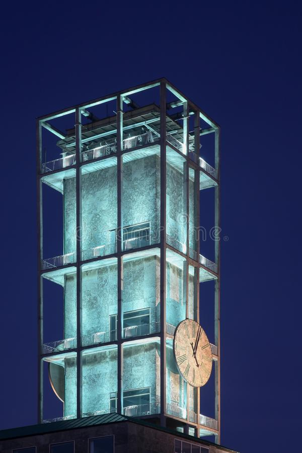 Clock of Aarhus city hall at the blue hour. In Denmark stock photo
