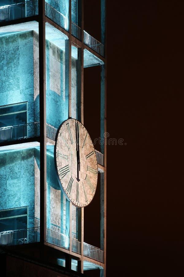 Clock of Aarhus city hall stock images