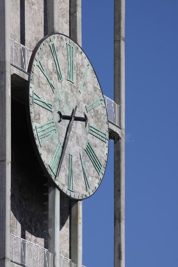 Clock of Aarhus town-hall stock photography