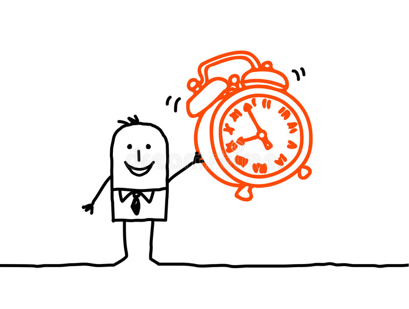 Clock alarm. Vector hand-drawn characters line