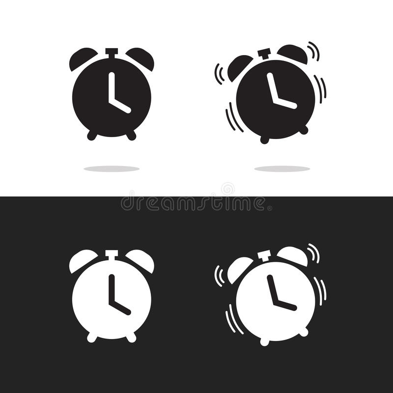 Clock alarm icon vector isolated on white and black background royalty free illustration