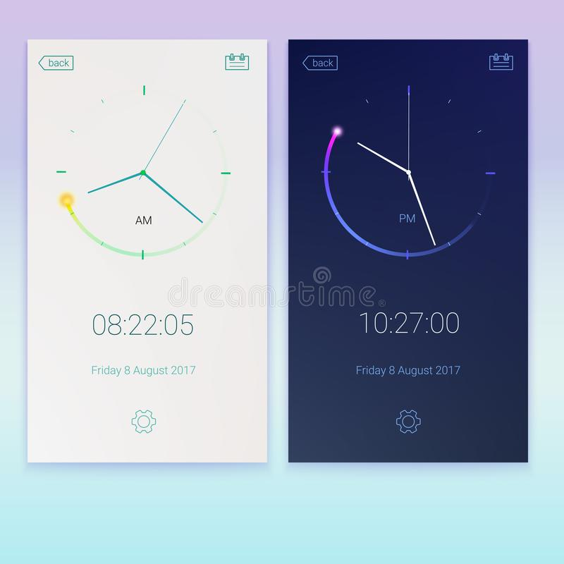 Clock application, concept of contrast UI design, day and night variants. Digital countdown app, user interface kit. Mobile clock interface. UI elements, 3D vector illustration