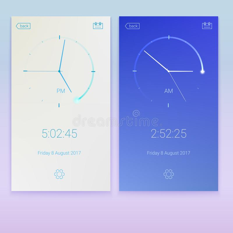 Clock application, concept of UI design, day and night variants. Digital app, user interface kit, UI elements. Mobile. Clock interface, 3D illustration stock illustration