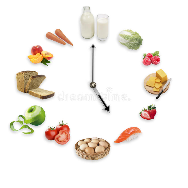 Clock arranged from healthy food products isolated on white back stock photo