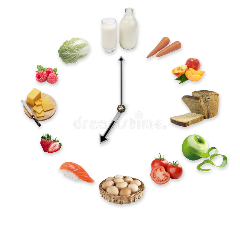 Clock arranged from healthy food products isolated on white background. Healthy food concept. royalty free stock image