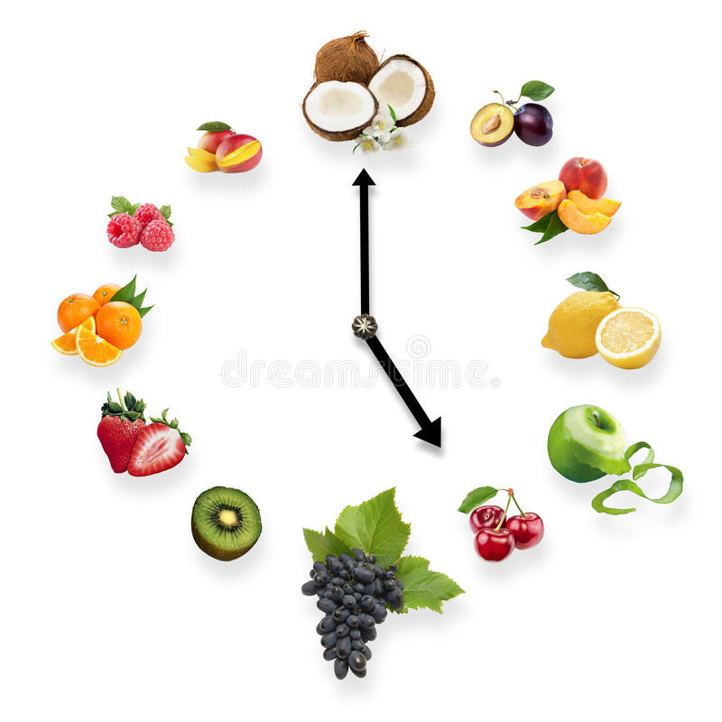 Clock arranged from healthy fruits isolated on white background. stock image