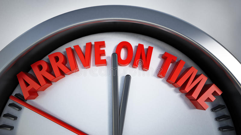 Clock with arrive on time text. 3D illustration.  royalty free illustration