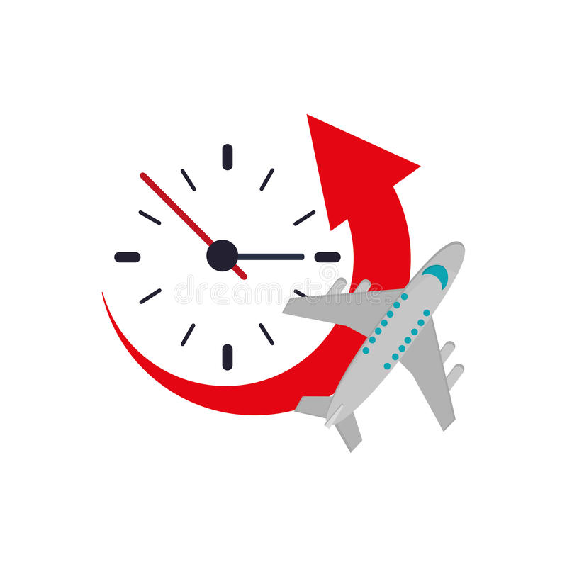 Clock with arrow and airplane icon. Flat design clock with arrow and airplane icon vector illustration vector illustration