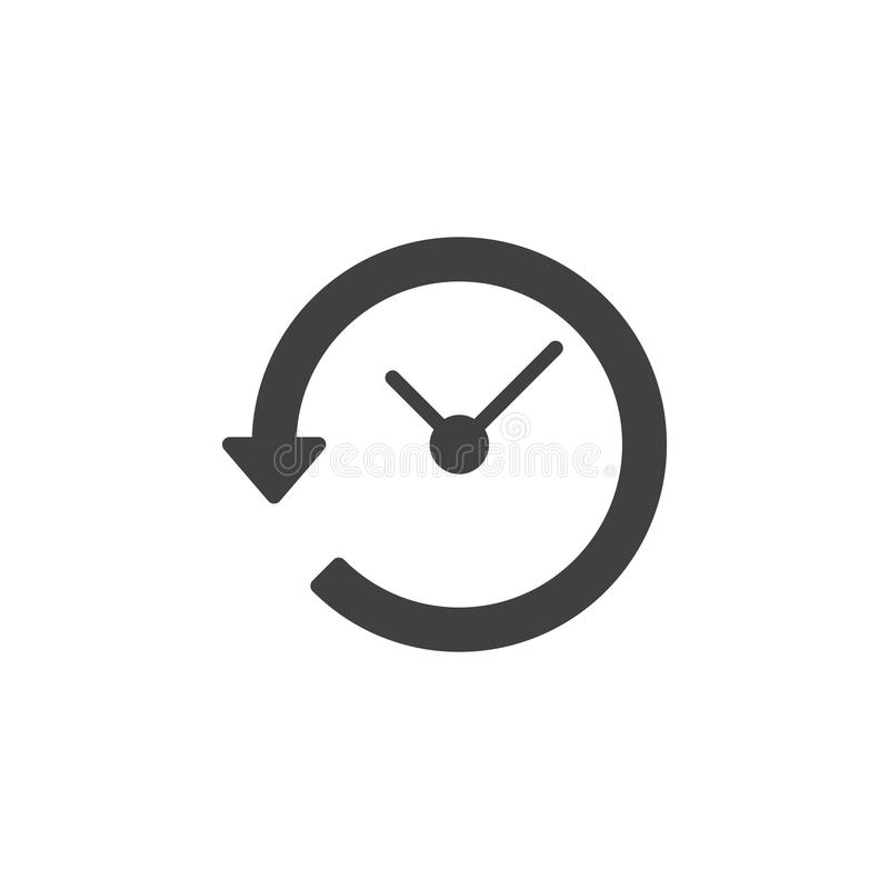 Clock with arrow around icon vector, filled flat sign, solid pictogram isolated on white. stock illustration
