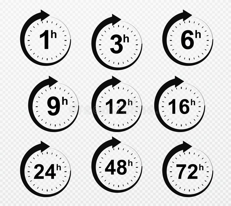 Clock arrow hours. Set of delivery service time icons. Vector illustration royalty free illustration