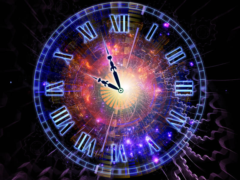 Clock backdrop. Design composed of clock hands, gears, lights and abstract design elements as a metaphor on the subject of time sensitive issues, deadlines stock photo