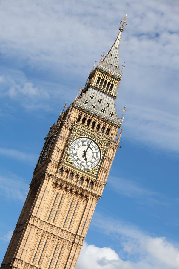 Clock Big Ben (Elizabeth tower) at 5 o'clock royalty free stock photos