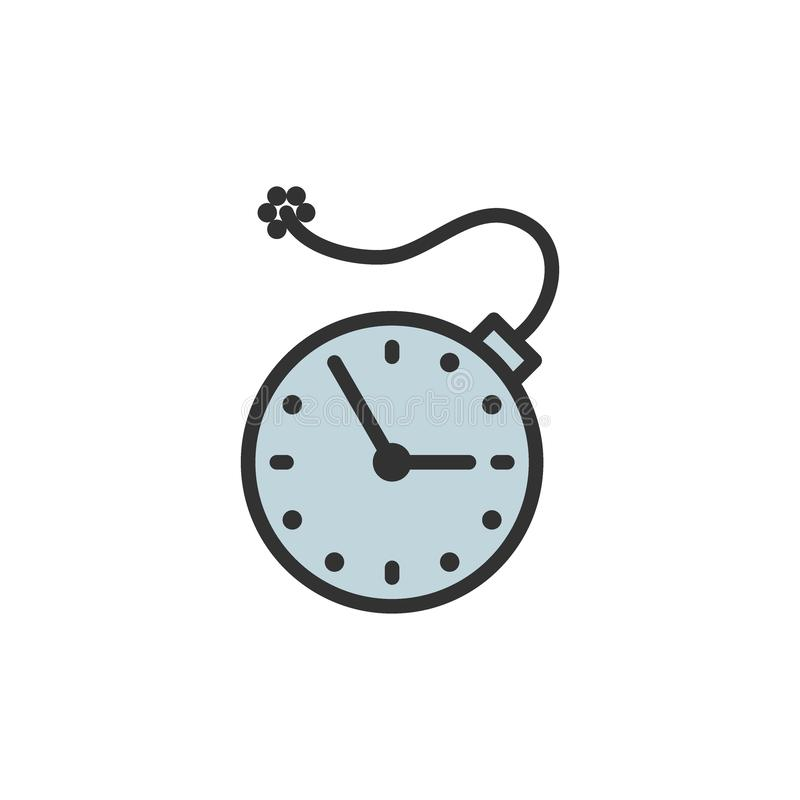 Clock with bomb, explosion timer, deadline flat color line icon. Vector clock with bomb, explosion timer, deadline flat color line icon. Symbol and sign vector illustration
