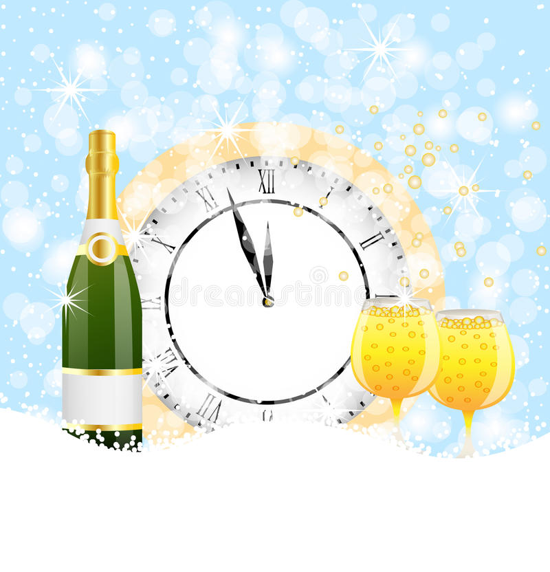 Clock, bottle and two glasses of champagne on to snow vector illustration