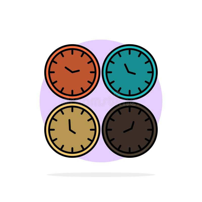Clock, Business, Clocks, Office Clocks, Time Zone, Wall Clocks, World Time Abstract Circle Background Flat color Icon royalty free illustration