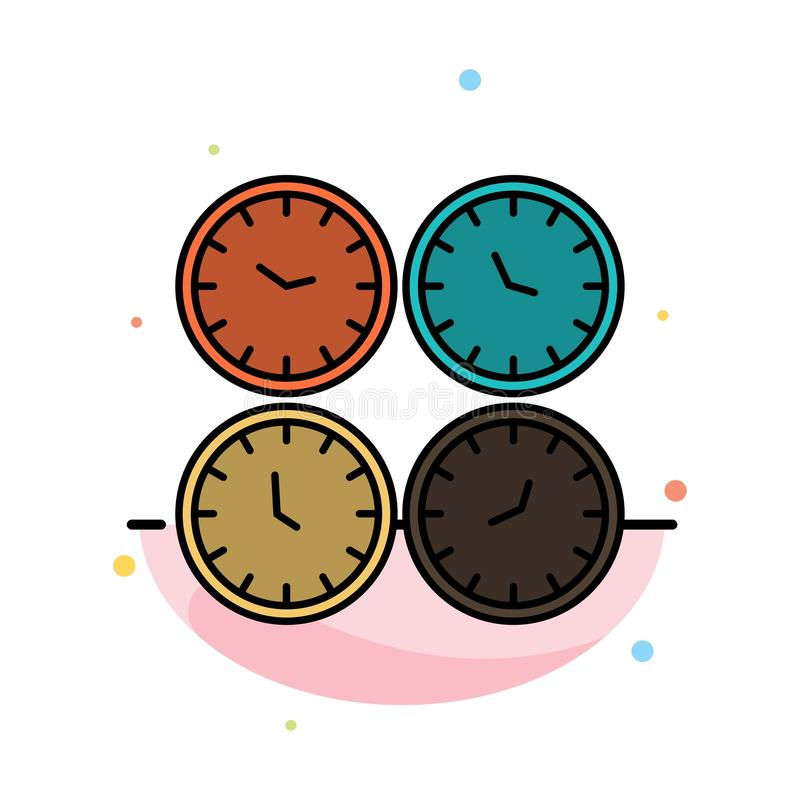 Clock, Business, Clocks, Office Clocks, Time Zone, Wall Clocks, World Time Abstract Flat Color Icon Template stock illustration