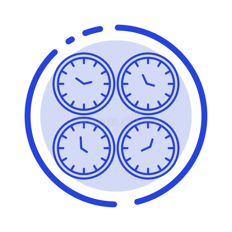 Clock, Business, Clocks, Office Clocks, Time Zone, Wall Clocks, World Time Blue Dotted Line Line Icon stock illustration