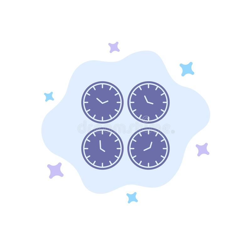 Clock, Business, Clocks, Office Clocks, Time Zone, Wall Clocks, World Time Blue Icon on Abstract Cloud Background vector illustration