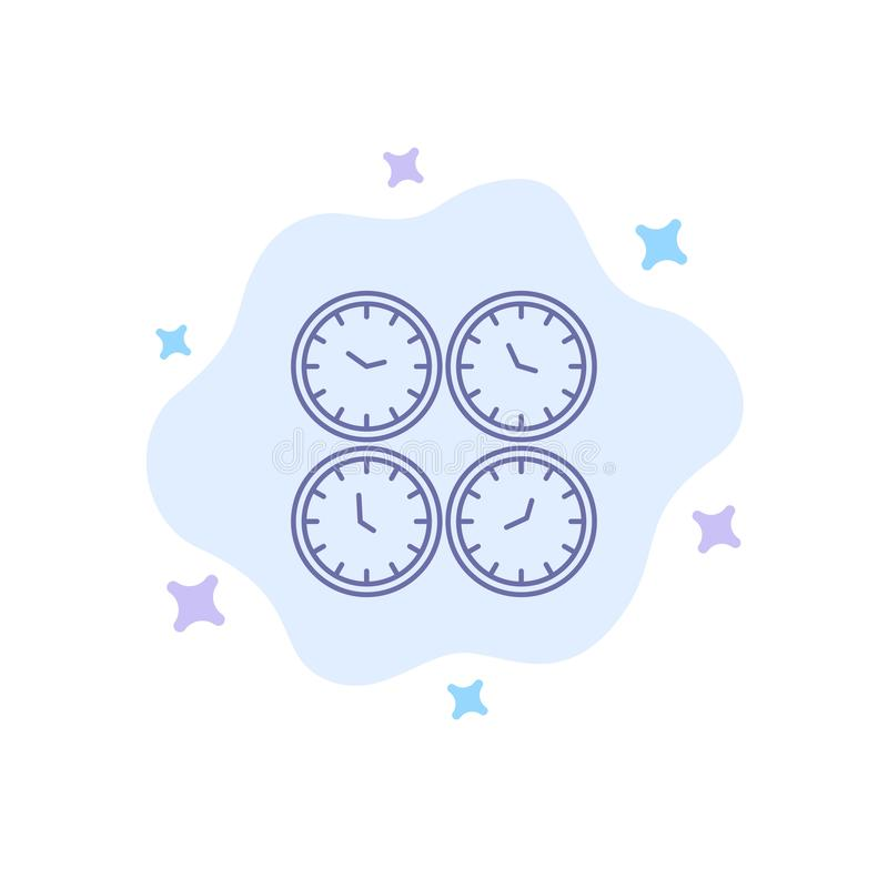 Clock, Business, Clocks, Office Clocks, Time Zone, Wall Clocks, World Time Blue Icon on Abstract Cloud Background stock illustration