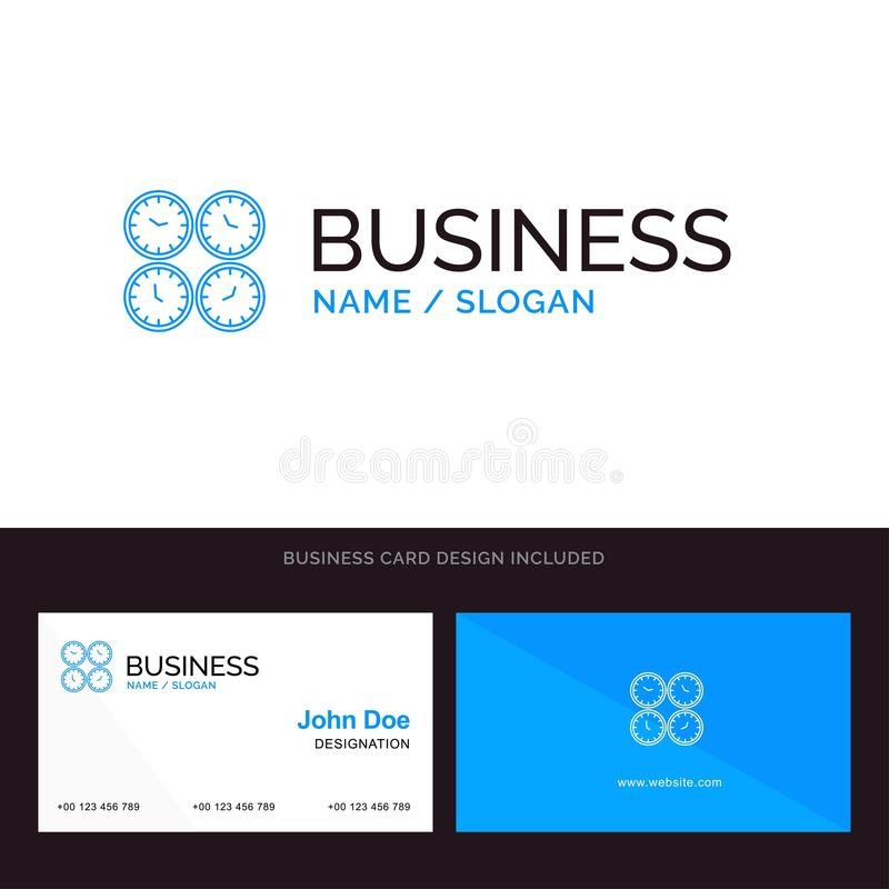 Clock, Business, Clocks, Office Clocks, Time Zone, Wall Clocks, World Time Blue Business logo and Business Card Template. Front. And Back Design stock illustration