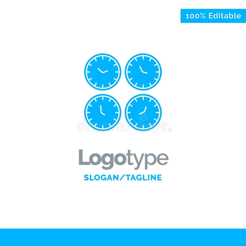 Clock, Business, Clocks, Office Clocks, Time Zone, Wall Clocks, World Time Blue Solid Logo Template. Place for Tagline royalty free illustration