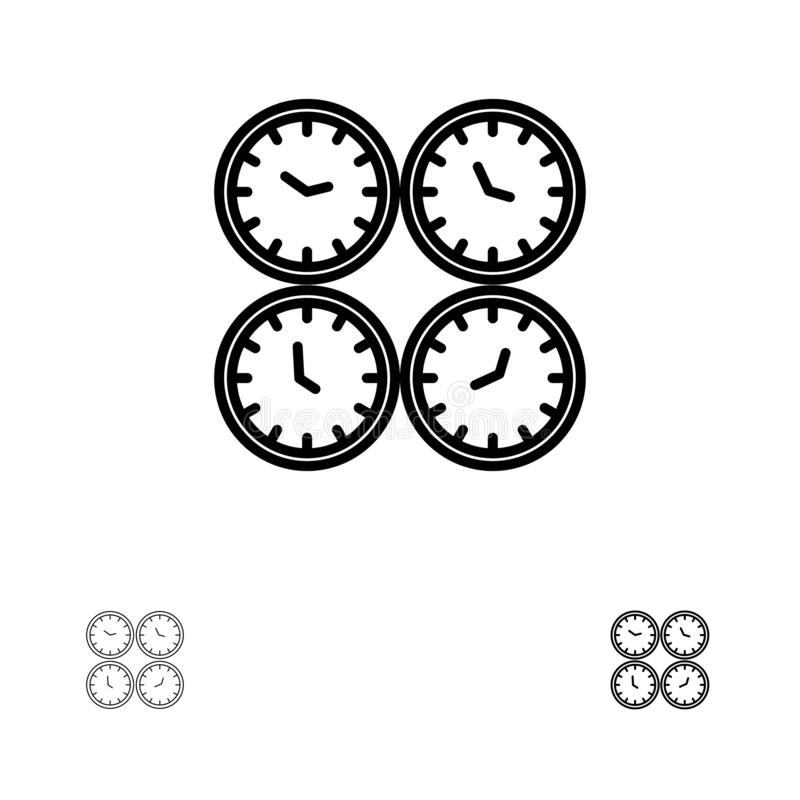 Clock, Business, Clocks, Office Clocks, Time Zone, Wall Clocks, World Time Bold and thin black line icon set vector illustration