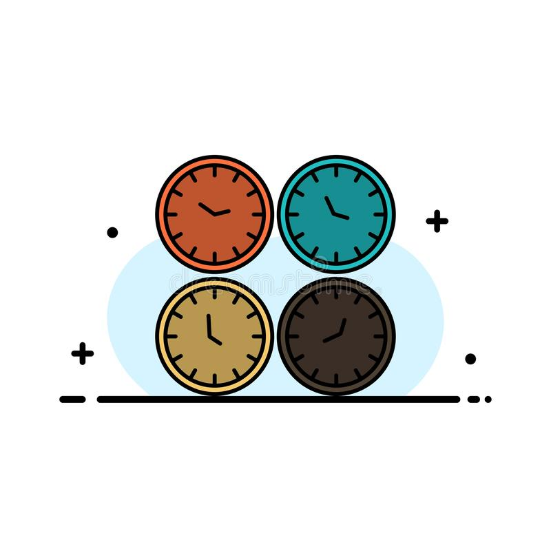 Clock, Business, Clocks, Office Clocks, Time Zone, Wall Clocks, World Time  Business Flat Line Filled Icon Vector Banner Template vector illustration