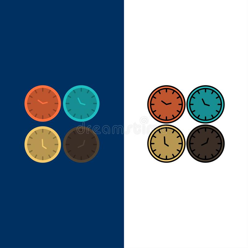 Clock, Business, Clocks, Office Clocks, Time Zone, Wall Clocks, World Time  Icons. Flat and Line Filled Icon Set Vector Blue. Background vector illustration