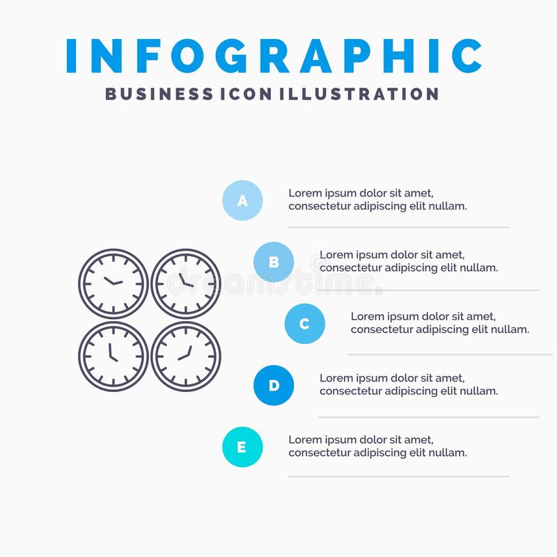 Clock, Business, Clocks, Office Clocks, Time Zone, Wall Clocks, World Time Line icon with 5 steps presentation infographics. Background stock illustration