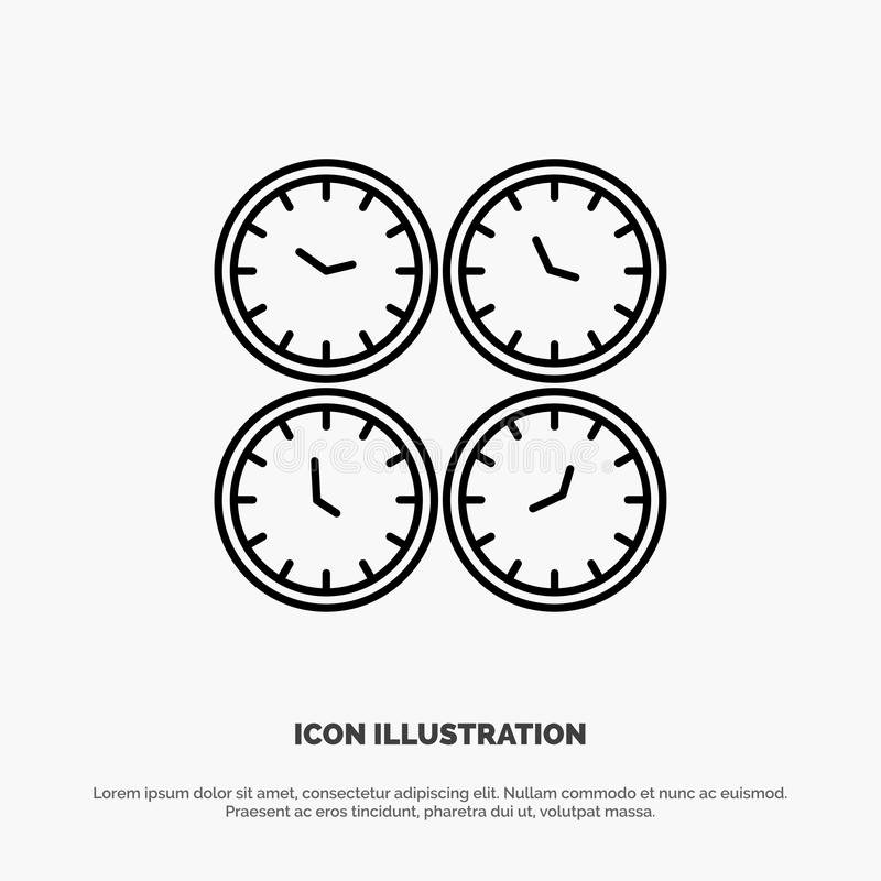 Clock, Business, Clocks, Office Clocks, Time Zone, Wall Clocks, World Time Line Icon Vector royalty free illustration