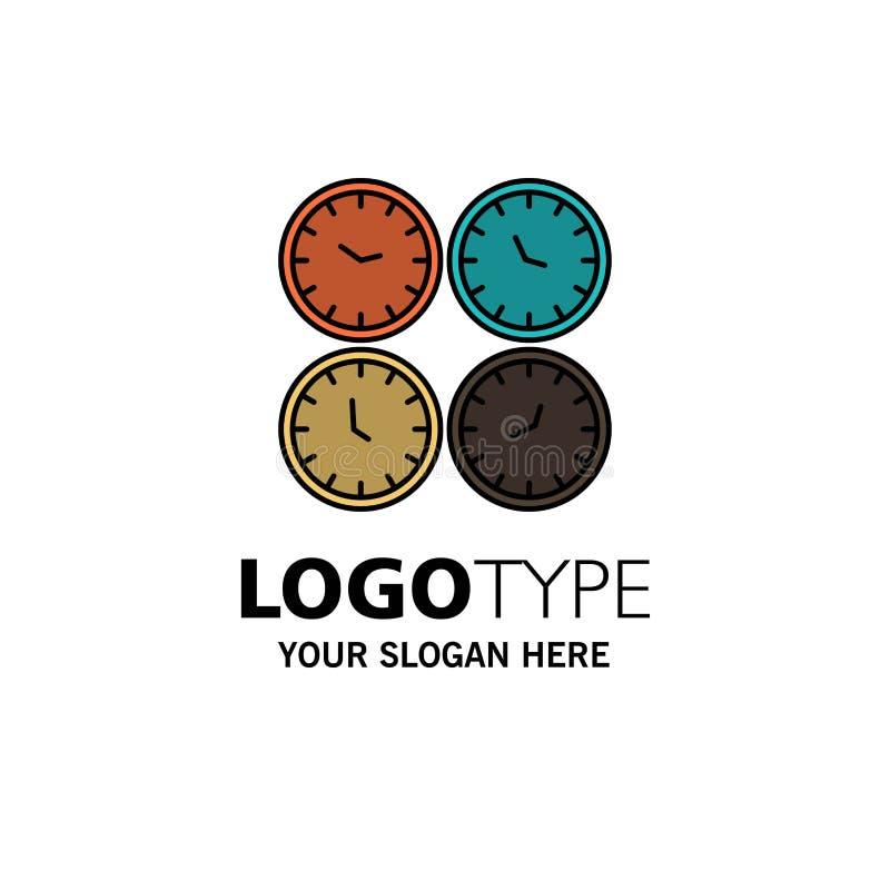 Clock, Business, Clocks, Office Clocks, Time Zone, Wall Clocks, World Time Business Logo Template. Flat Color stock illustration