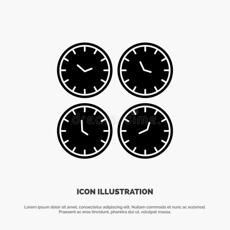 Clock, Business, Clocks, Office Clocks, Time Zone, Wall Clocks, World Time solid Glyph Icon vector stock illustration