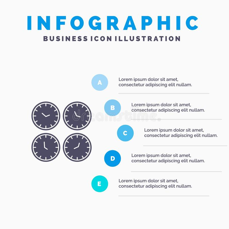 Clock, Business, Clocks, Office Clocks, Time Zone, Wall Clocks, World Time Solid Icon Infographics 5 Steps Presentation Background vector illustration