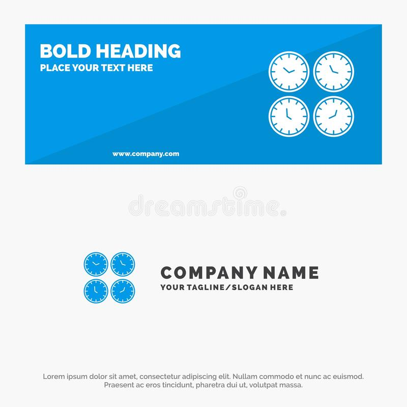 Clock, Business, Clocks, Office Clocks, Time Zone, Wall Clocks, World Time SOlid Icon Website Banner and Business Logo Template stock illustration