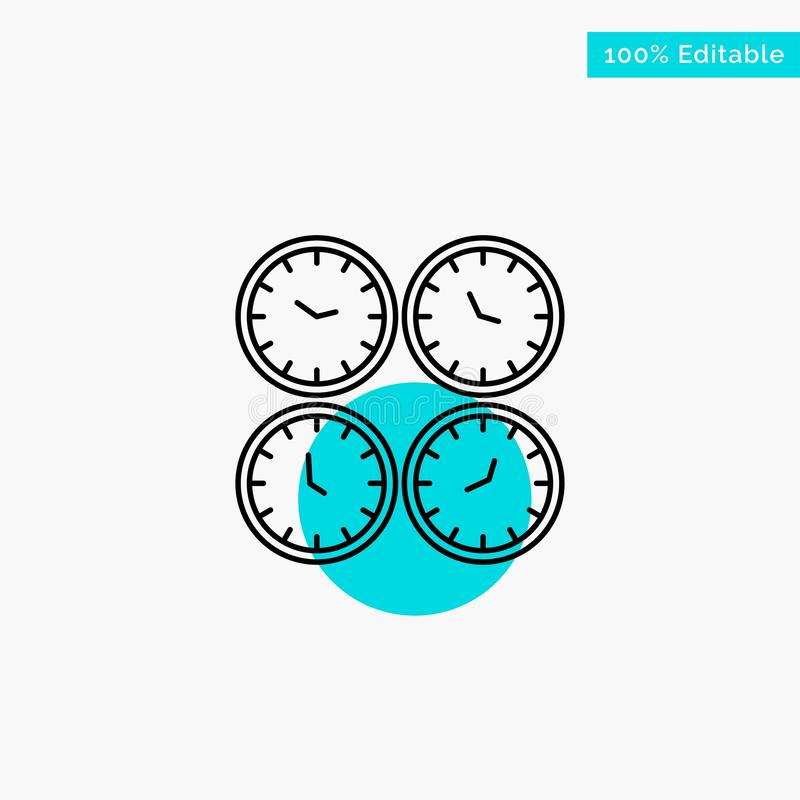 Clock, Business, Clocks, Office Clocks, Time Zone, Wall Clocks, World Time turquoise highlight circle point Vector icon stock illustration