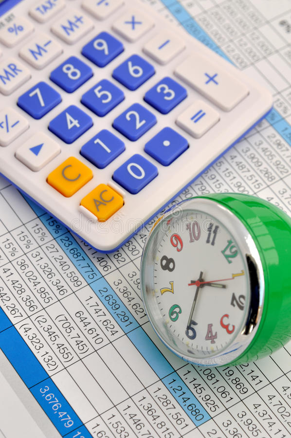 Download Clock And Calculator On Data Stock Image - Image: 22353607