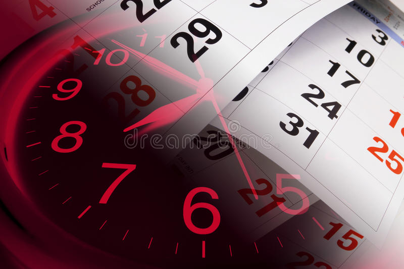 Clock and Calendar Pages. Composite of Clock and Calendar Pages royalty free stock photo