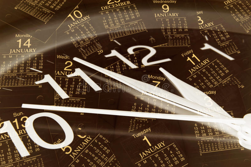 Clock and Calendar Pages. Composite of Clock and Calendar Pages stock photography