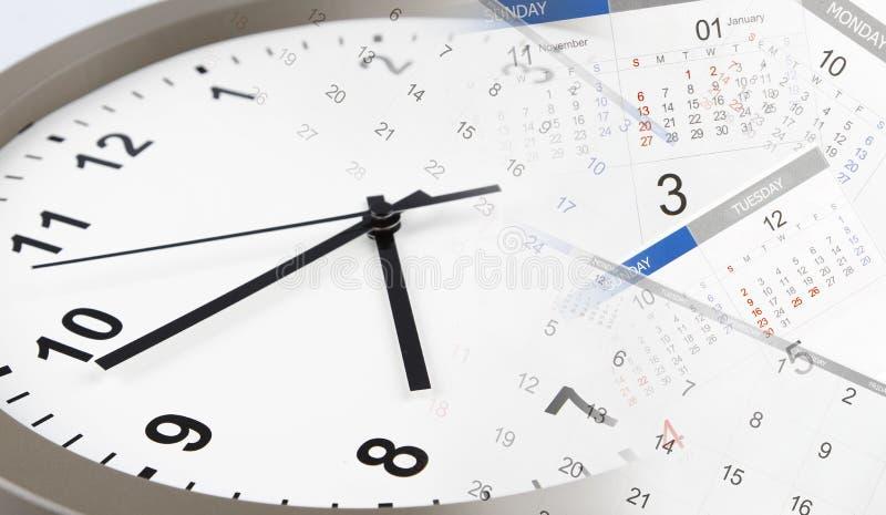 Clock and calendars. Clock face and calendars composite stock photo