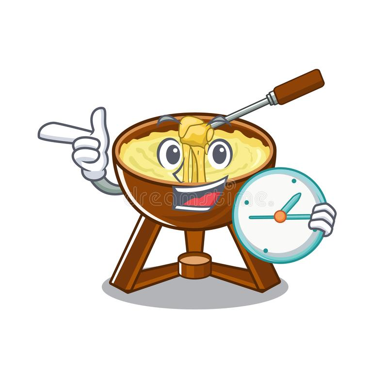 With clock cheese fondue with in mascot shape. Vector illustration royalty free illustration