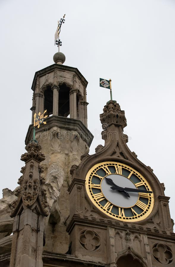 The clock on Chichester Cross. At quarter past ten stock image