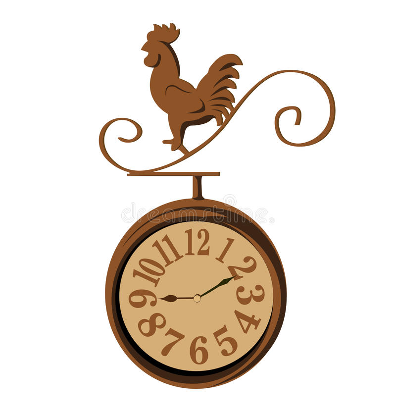 Clock chicken vintage. On white background vector illustration