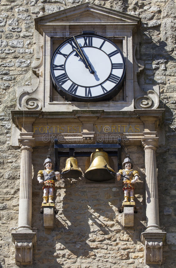 Clock and Chime of Carfax Tower in Oxford. The clock and chiming quarter boys of St. Martins Tower, popularly known as Carfax Tower in Oxford, England royalty free stock images