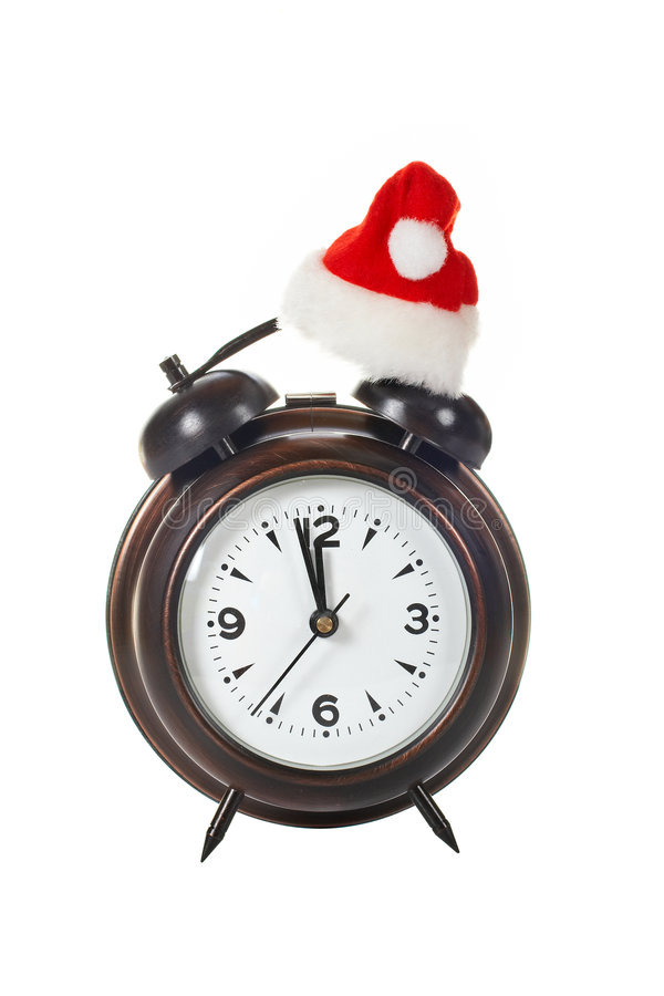 Download Clock With Christmas Hat Royalty Free Stock Photography - Image: 3846017