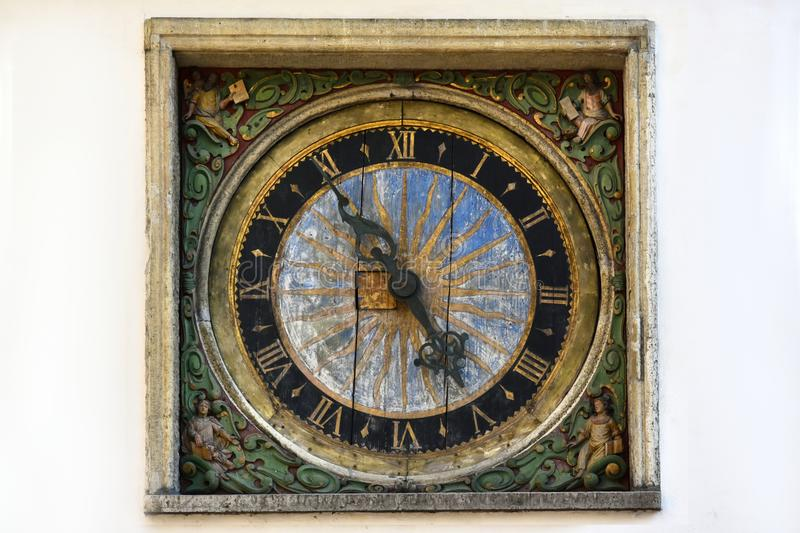 Clock at the Church of the Holy Ghost in Tallinn stock images