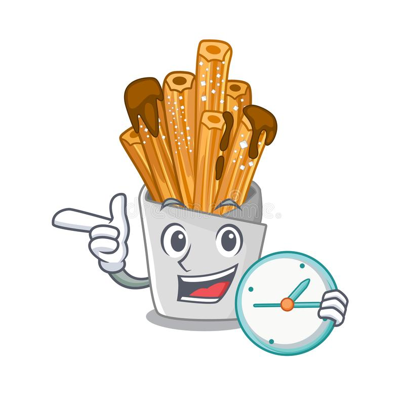 With clock churros isolated with in the cartoon. Vector illustration vector illustration